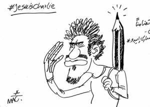 A cartoon by Makhlouf published on 8 January 2015 in private-owned daily Al-Masry Al-Youm. The Arabic reads 'In support with Charlie Hebdo'